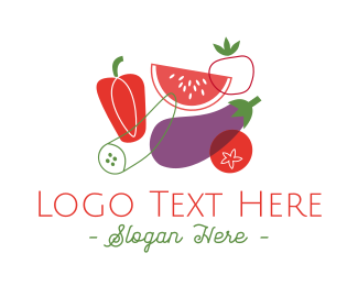 Vegan Food - Vegetables & Fruit logo design