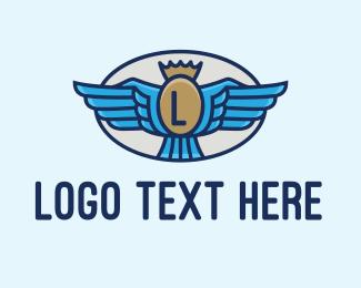 Badge - Winged & Crowned Badge logo design