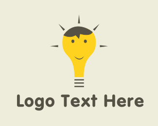 Bulb - Happy Bulb Cartoon logo design
