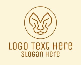 Red Tiger - Minimalist Tiger Lion Face  logo design