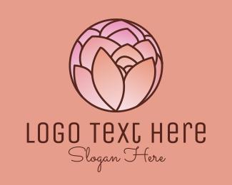 Rosebud - Rose Flower Stained Glass logo design