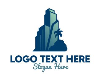 Landscape Architecture - Tropical City Building  logo design
