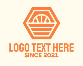 Polygonal - Orange Hexagon Basketball logo design