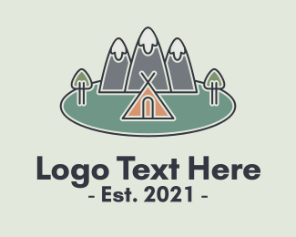 Mountain Climbing - Snowy Mountain Tent logo design