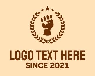 Blm Movement - Raised Fist Laurel logo design