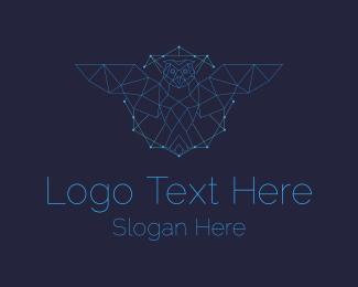 Triangulation - Monoline Geometric Owl Network logo design