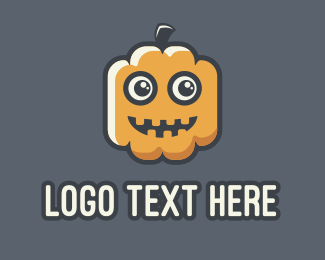 Pumpkin - Cartoon Halloween Pumpkin Mascot logo design