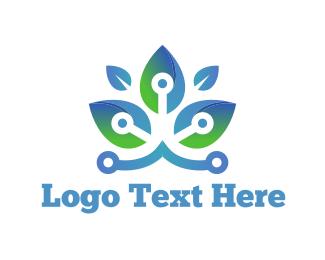 Lotus - Circuit Flower logo design