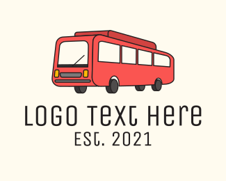 Tour Bus - Red Service Bus  logo design