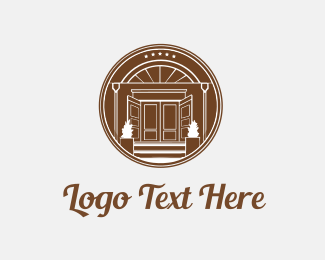 Mortgage Real Estate  Brown Circle House Door logo design