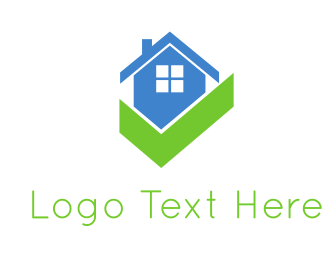 Real Estate Agent - Blue House & Gree Check logo design