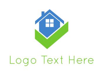 Real Estate Agent - Blue House & Gree Check logo design