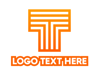 Lines - Orange Line T logo design