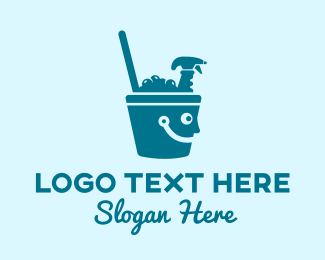 Bucket - Happy Cleaning Bucket  logo design
