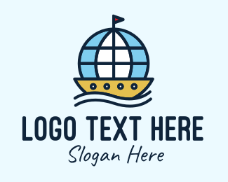 House Boat - Global Seafarer Boat logo design