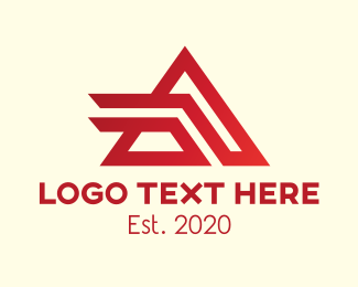 Triangular - Red Abstract Triangular Letter A logo design