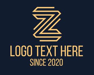 Zigzag - Golden Letter Z logo design