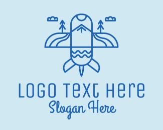 Tourism Agency - Blue Airplane Scenic  logo design