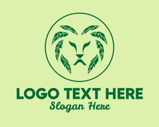 Mane - Green Leaf Lion  logo design
