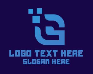 Technology - Blue Pixel Letter G logo design