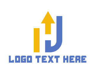 Business Solutions - Yellow Blue Industrial H logo design