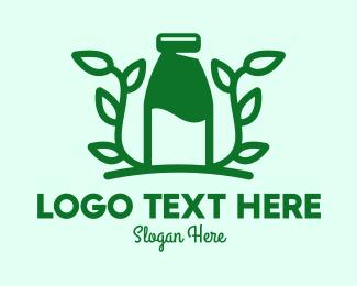 Milk Bottle - Organic Plant Milk logo design