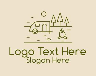 Motel - Campsite Outline logo design