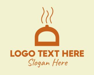 Waiter - Orange Food Cover logo design