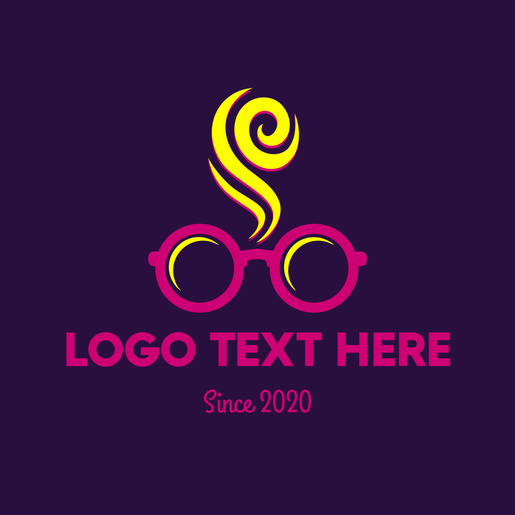 Pink Spectacles Glasses Smoke Logo