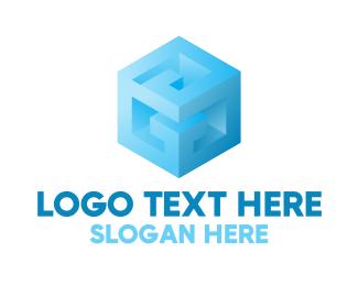 Block - Blue Cube G logo design