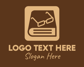 Library - Reading Glasses Ebook Book logo design