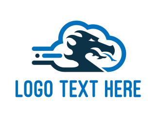 Medieval - Dragon Cloud logo design