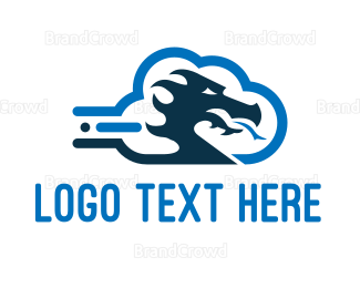 Reptile - Dragon Cloud logo design