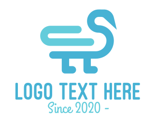 Duck - Minimalist Blue Duck logo design