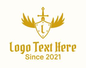 Letter - Winged Shield Sword logo design