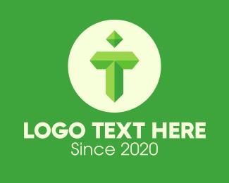 Gem - Green Gem Letter T logo design
