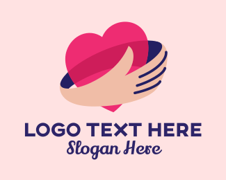 Dating Forum - Heart Hug  logo design