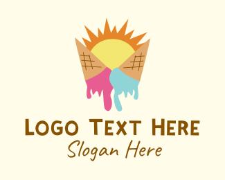 Soft Serve - Summer Melting Ice Cream logo design