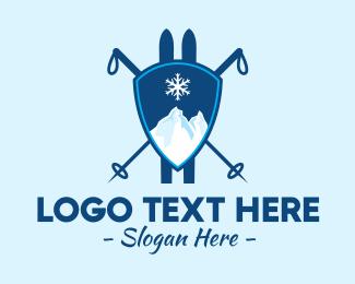 Skiing - Mountain Ski Lodge  logo design