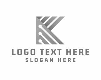 Metalwork - Letter K Circuit Board logo design