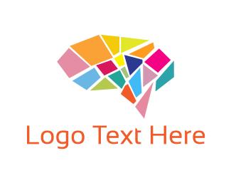 Knowledge - Brain Mosaic logo design