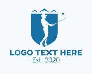 Sports Gear - Blue Golfer Shied logo design