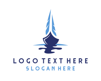 Blue Sailing Boat Logo