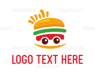 Food Truck - Happy Sandwich & Fries logo design