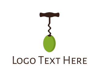 Corkscrew - Wine & Olive logo design