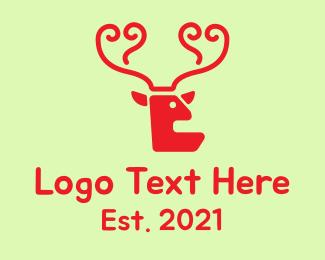 Brown Moose - Red Deer Antlers  logo design