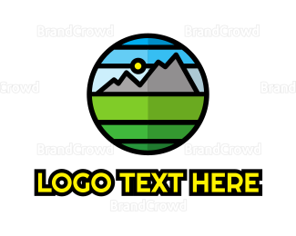 View - Geometric Mountain Badge logo design
