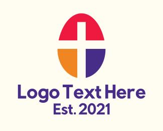 Spirituality - Easter Egg Cross logo design