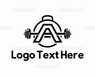 Kettlebell - Heavy Letter A logo design