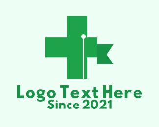 Medical Operation - Green Cross Flag  logo design